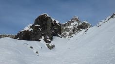 Tälchen am Rotstock - hier mussten wir vor drei Wochen durch 30cm tiefen Schnee spuren.