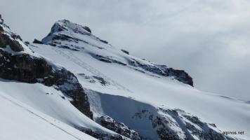 Gipfelhang mit unseren Spuren