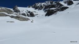 einsame Abfahrt über den Gletscher
